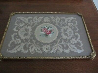 Vintage Brass Filigree, Lace & Petit Point Vanity Tray Dressing Table Accessory