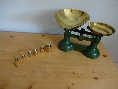 Viking Wolverhampton Green Weighing Scales With 9 Weights Vintage