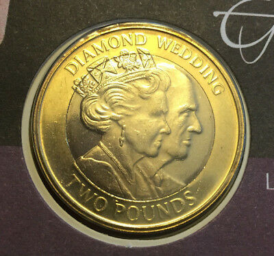 Gibraltar 2 Pounds 2007 + First Issue Letter - Unc - Diamond Wedding Rare