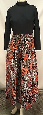 Vintage 1960s Maxi Dress with Paisley Print
