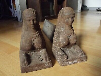 Antique Egyptian Revival 1800s Pair Nude Sphinx Andirons 1st French Empire 19thC