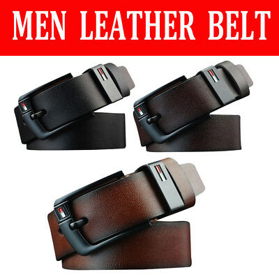 Mens PU Leather Belt Business Waistband Work Dress Pin Buckle Belts 3 Colors AU