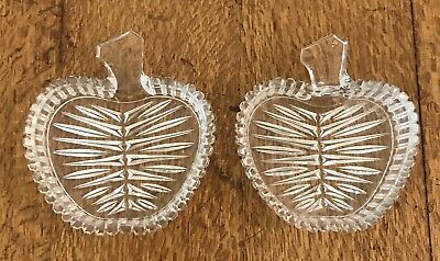 2 Vintage Cut Glass Apple Shaped Pin Dishes
