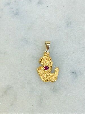 W.A Natural Gold Nugget & Ruby Set Pendant #20