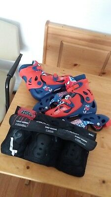 SpiderMan Kids Rollerblades Size 13J -3 and No Fear skate protection pack small