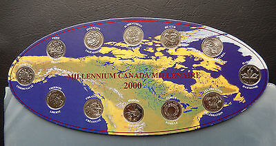 "2000 Canada 25 Cents Millennium Collector Set of Coins ""Oval 12 coins  SBC2000OV"