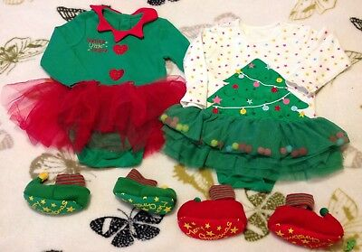 2 Baby Girls Christmas Outfits, With Elf Shoes 12-18 Months