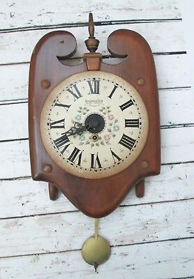 Vintage New England Clock Co Wooden Wall Clock Hand Painted Face Untested No Key