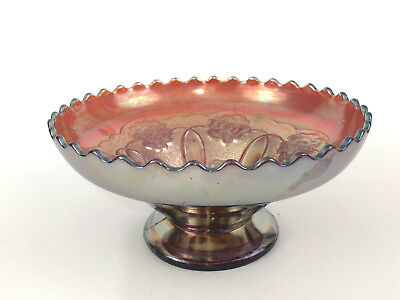 Antique Dugan Glass Co. amethyst carnival glass bowl, DOUBLE STEM ROSE, c.1916