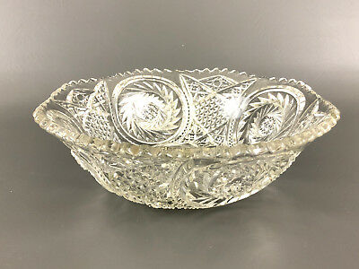 Antique Edwardian, clear pressed glass salad bowl 1900's 1910's ground bottom
