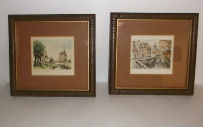 "Vintage Linck Pair of Original Framed & Matted Etchings - 11"" by 10-1/4"""