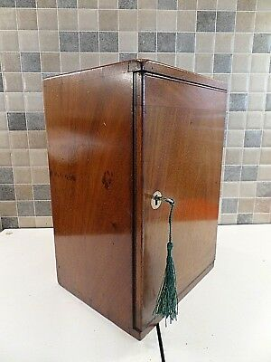 VICTORIAN 19thC LIMED MAHOGANY CABINET/ BOX- DOVETAIL JOINTS- HANDLE- LOCK & KEY