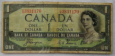 "1954 Canada 1 Dollar ""Devil's Face"" Banknote P.66.a ""Coyne-Towers"" SB3899"