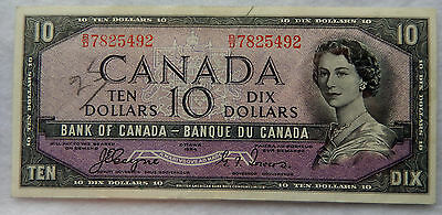 "1954 Canada 10 Dollar ""Devil's Face"" Banknote P.69.a ""Coyne - Towers"" SB3883"