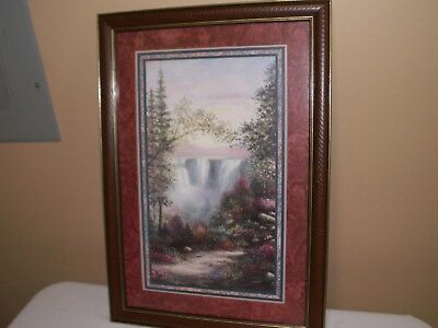 "Home Interiors Picture Jeweled Falls, Waterfall, Artist Sambatro 24"" x 17"" Homco"