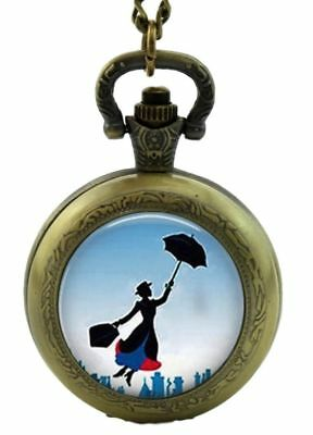 Mary Poppins Quartz Pocket Watch Hunter Chain Glass Art Picture Vintage Style