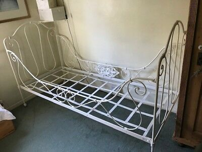 Antique Victorian folding Wrought Iron Single Bed / Daybed