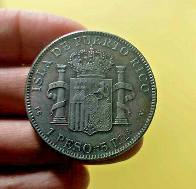1895 PUERTO RICO 1 PESO=5P.TAS Money Coin World PR Collectible Pretty Best Gift