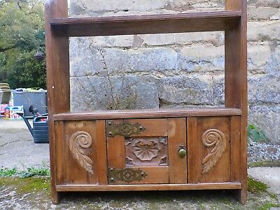 Antique Victorian Pine Wall Shelves With Central Cupboard Cabinet Shelf