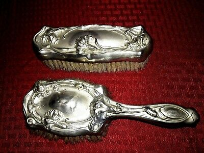 Antique Silver Victorian Hair Brush and Clothes Brush Vanity Dresser Set