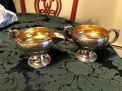 estate weighted footed sterling silver sugar/creamer set