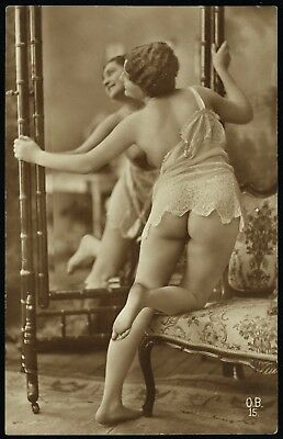 1910 Original French Real Photo PC Full Nude Voluptuous Girl Butt Lingerie