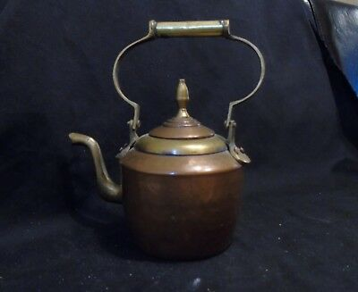 Antique Small Copper Kettle with Brass Fittings
