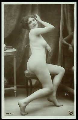 1910 Original French Real Photo PC Nude Girl Boudoir Lingerie Jean Agelou