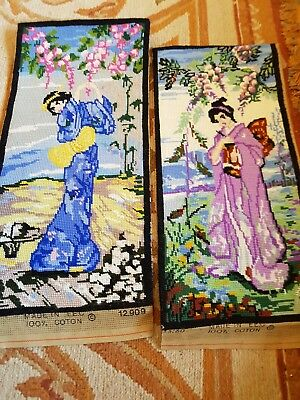 Pair Of Vintage Finished Oriental Lady Tapestries