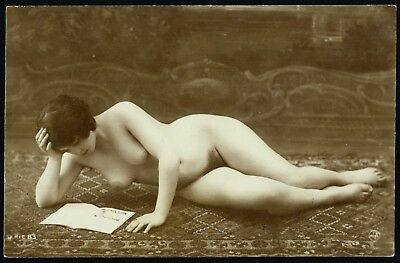 1910 Original French Real Photo PC Full Nude Girl Lingerie Jean Agelou