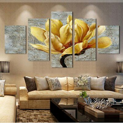 Yellow Golden Flower Orchid 5 Pieces canvas Wall Art Picture Gift Home Decor