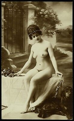 1910 Original French RPPC Nude Delicate Girl Beauty Lingerie Dog Jean Agelou