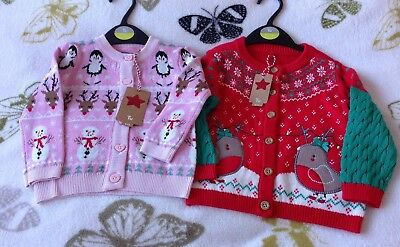 2 Gorgeous Baby Girls Tu Christmas Cardigans 9-12 Months NWTs