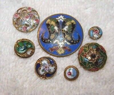 7 Antique Victorian Enamel Painted Brass Buttons - Pierced, Rivets+