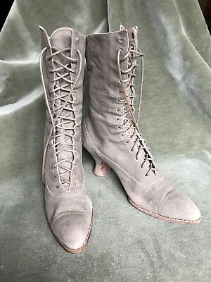 Antique Victorian Edwardian lace up grey kid suede boots