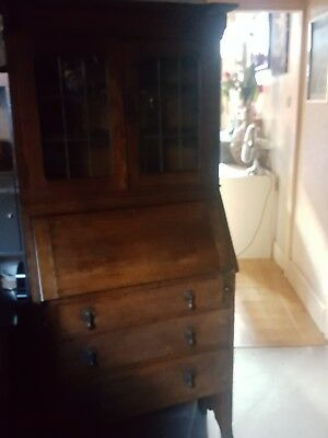 Antique Victorian oak bureau display cabinet with leaded glass top Bookcase Desk