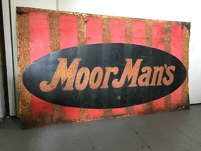 Vtg Moormans Feed Seed Tin Metal Farm Sign Cow Pig Chicken