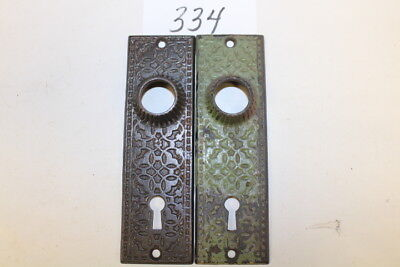 #334 – Lot of 2 Ornate Cast Iron Door Knob Back Plates / Escutcheons, 19th C.
