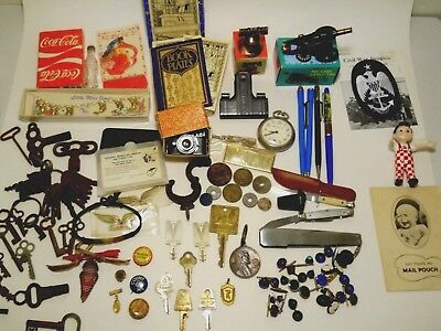 Junk Drawer Lot  Keys Tokens Coins Pocket Watch Coca Cola Big Boy Knives