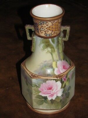 Antique Nippon Hand Painted Roses Double Handle Vase