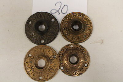 020 – Lot of 4 Ornate Round Door Knob Back Plates / Escutcheons - 1882, 19th C.