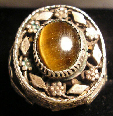 Antique Yemenite Tiger Eye Silver Sterling Filigree Wedding Ring Judaica Judaism