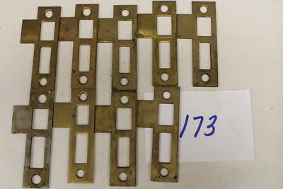 #173 – Lot of 9 Brass Door Jamb Strike Plates, 19th C.
