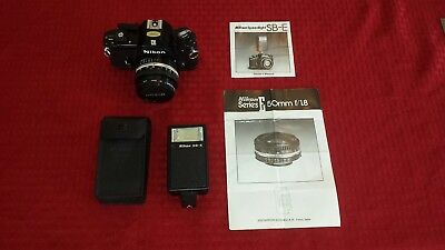 Vintage Nikon EM Camera, Lens, and Flash