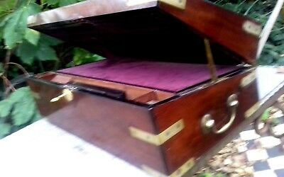 large   writing  slope / lectern with working lock and key  .drawer .2 inkwells