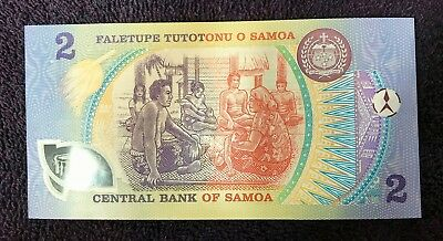 1990 CENTRAL BANK OF SAMOA 2 TALA  POLYMER BANKNOTE P-31f AAH
