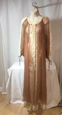 Vintage Tosca Nightie Robe Coco Brown With Lace Detail Lingerie Peignor Negligee
