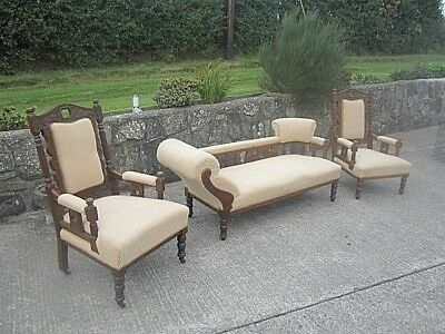Antique Victorian/Edwardian Oak Chaise Longue and matching Armchairs.
