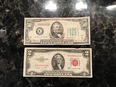 1934 C $50 Federal Reserve Note - Richmond + 1953 B $2 United States Note