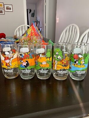 Set of 5 McDonalds Peanuts Camp Snoopy Collection Glasses Charlie Brown - NICE!